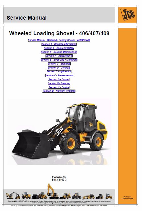 JCB 406, 407, 409 Wheeled Loader Shovel Service Manual