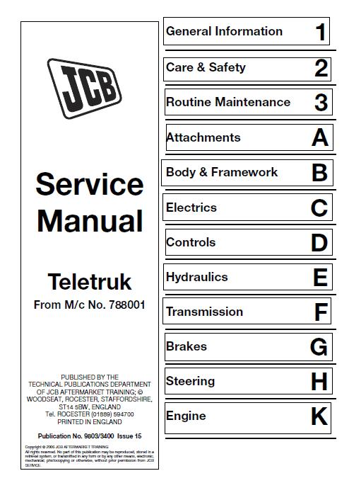 JCB 2.0, 2.5, 3.0, 3.5D TLT Lift Teletruk Service Manual