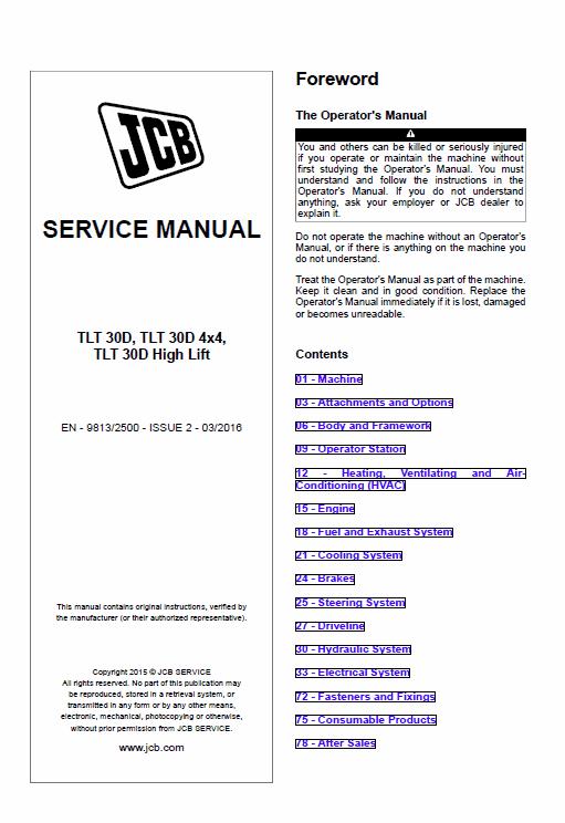 JCB TLT 30D, TLT 30D 4x4, TLT 30D High Lift Teletruck Service Manual
