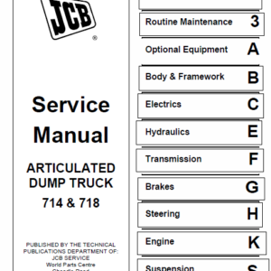 JCB 714, 718 Articulated Dump Truck Service Manual