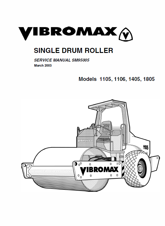 JCB Vibromax 1105, 1106, 1405, 1805 Single Drum Roller Service Manual