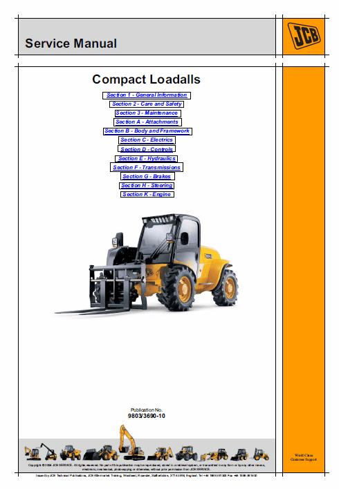 JCB 520-40, 524-50, 527-55 Compact Loadalls Service Manual