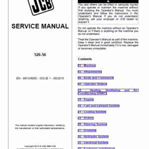 JCB 526-56 Loadall Telescopic Handlers Service Manual