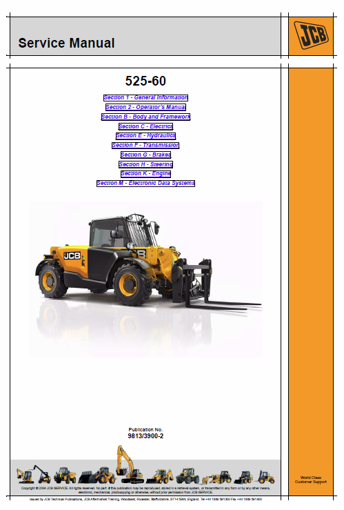 JCB 526-60 Loadall Telescopic Handlers Service Manual