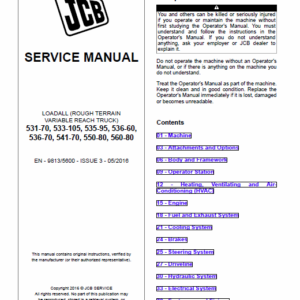 JCB 531-70, 533-105, 535-95, 536-60, 536-70, 541-70, 550-80, 560-80 Loadall Service Manual