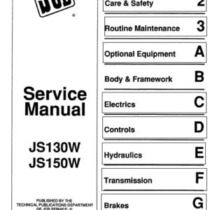 JCB JS130W, JS150W Wheeled Excavator Service Manual