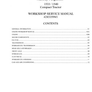 Massey Ferguson 1533, 1540, 1547, 1552, 1560 Tractors Service Workshop Manual