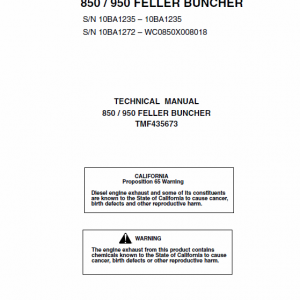 John Deere 850, 950 Feller Buncher Technical Manual