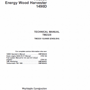 John Deere 1490D Harvester Technical Manual TM-2238