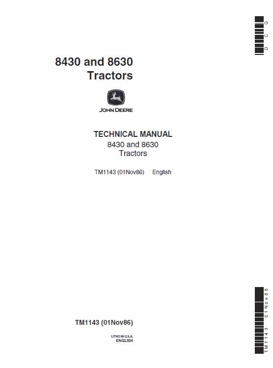John Deere 8850 Tractor Service Manual TM-1143