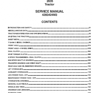 Massey Ferguson 2635 Tractors Service Workshop Manual