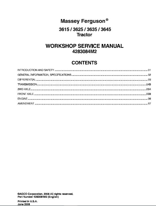 Massey Ferguson 3615, 3625, 3635, 3645 Tractors Service Workshop Manual