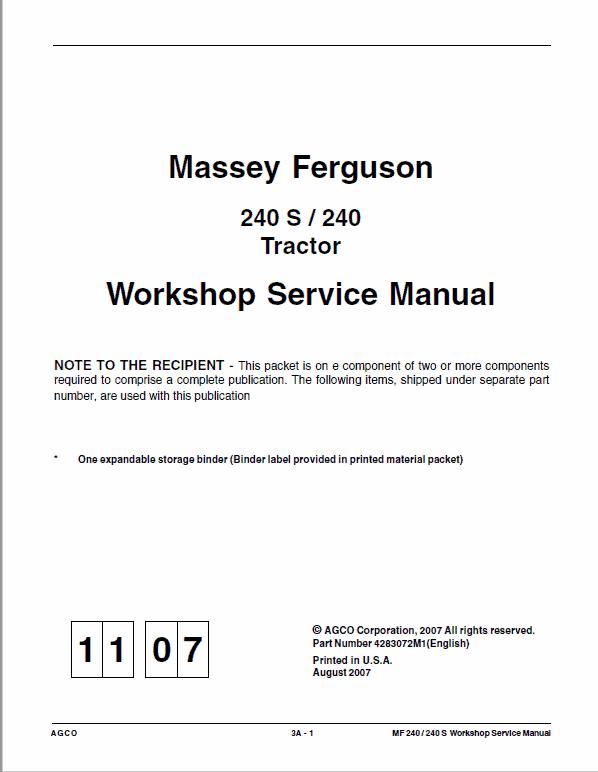 Massey Ferguson MF 240, 240S Tractor Service Manual