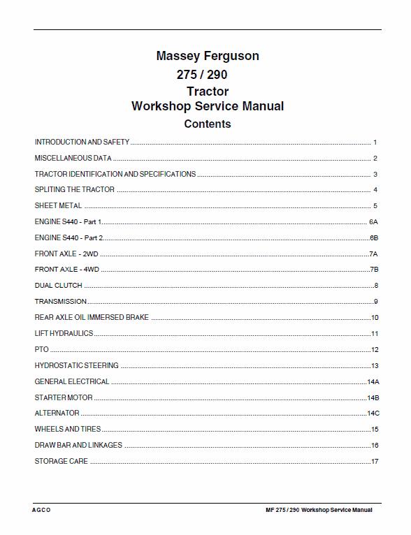 Massey Ferguson MF 275, 290 Tractor Service Manual