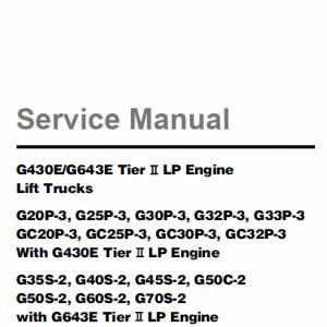 Doosan Daewoo G430E, G643E Tier 2 LP Engine Forklift Service Manual