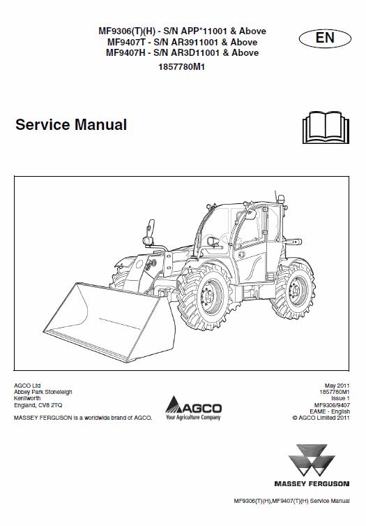 Massey Ferguson MF 9306, 9407 Telescopic Handler Service Manual