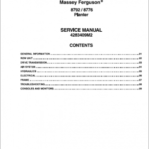 Massey Ferguson 8792, 8776 Planter Service Manual