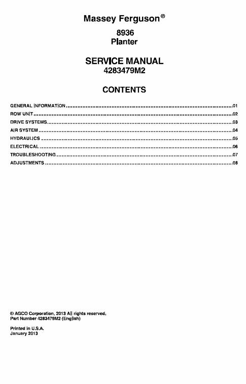 Massey Ferguson 8936 Planter Service Manual