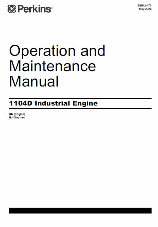 Perkins Engines 1104D Series Workshop Repair Service Manual