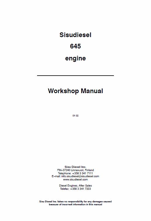 AGCO Sisu 645 Engines Workshop Repair Service Manual