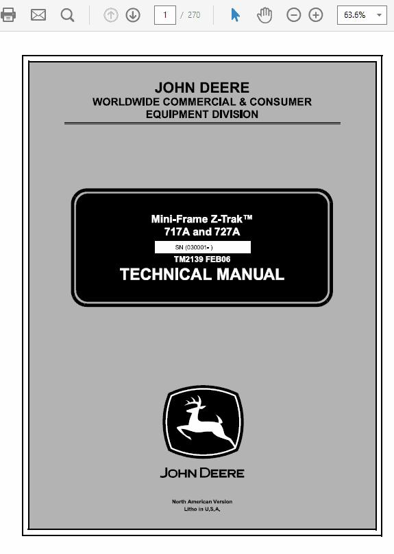 John Deere 717A, 727A ZTrak Technical Service Manual