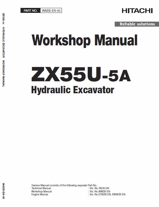 Hitachi ZX55U-5A and ZX55U-5B Excavator Service Manual