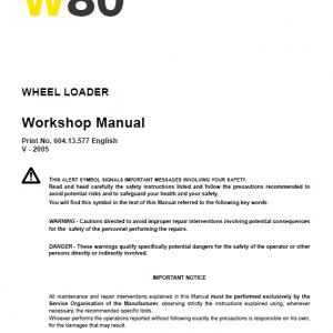 New Holland W80 Wheeled Loader Service Manual