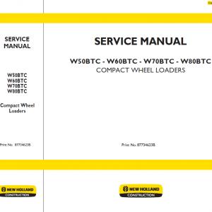New Holland W50BTC, W60BTC, W70BTC, W80BTC Wheeled Loader Manual