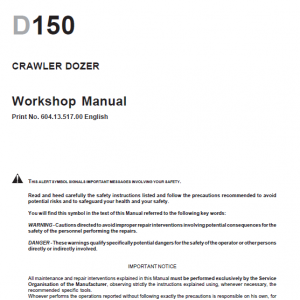 New Holland D150 Bulldozer Dozer Service Manual