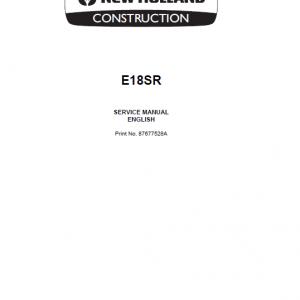New Holland E18SR Mini Excavator Service Manual