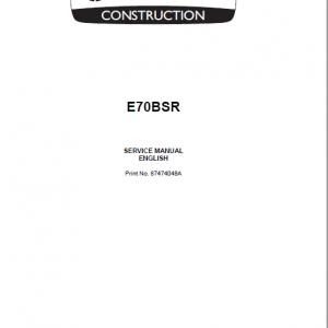 New Holland E70BSR Midi Excavator Service Manual