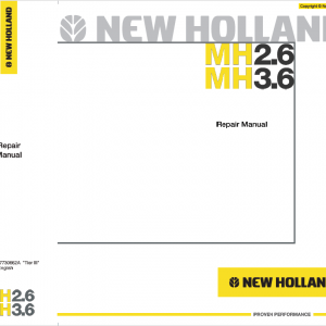New Holland MH2.6 and MH3.6 Tier 3 Wheeled Excavator Manual