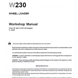 New Holland W230 Wheeled Loader Service Manual