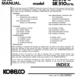 Kobelco SK310 and SK310LC Excavator Service Manual