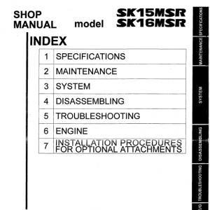 Kobelco SK15MSR and SK16MSR Excavator Service Manual