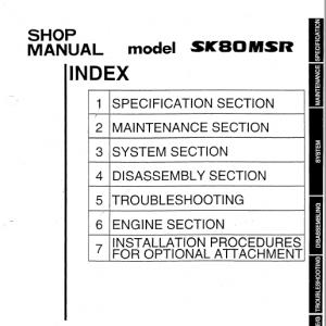 Kobelco SK80MSR Excavator Service Manual