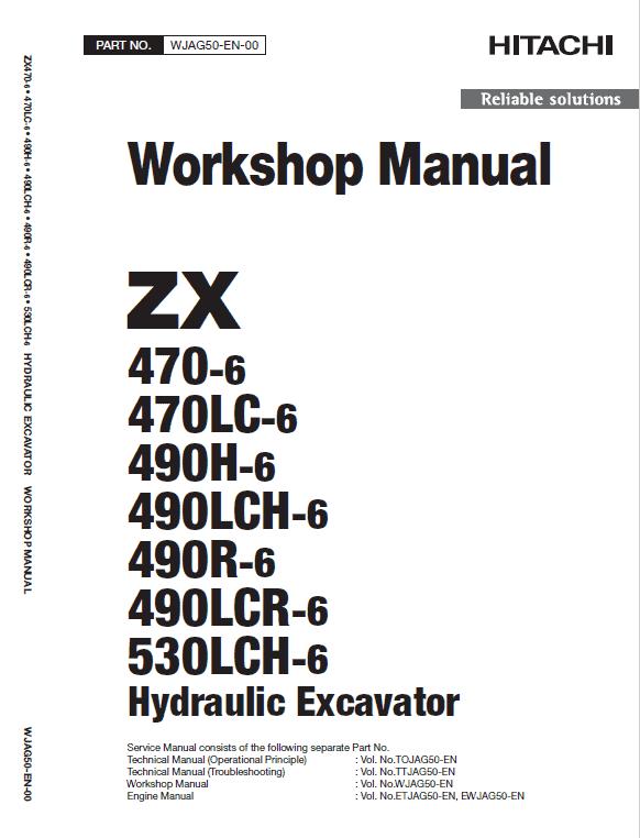 Manual for: ZX470-6, ZX470LC-6, ZX490H-6, ZX490LCH-6, ZX490R-6, ZX490LCR-6, ZX530LCH-6