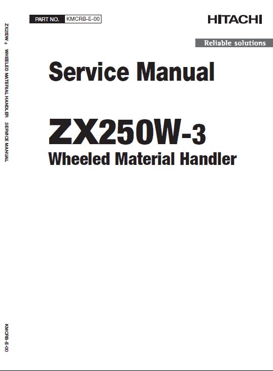 Hitachi ZAXIS ZX250W-3 Excavator Manual