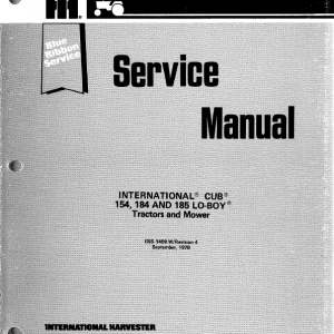 Cub Cadet 154, 184 and 185 Tractor Service Manual