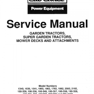 Cub Cadet 1340, 1535, 1541 and 1782 Service Manual