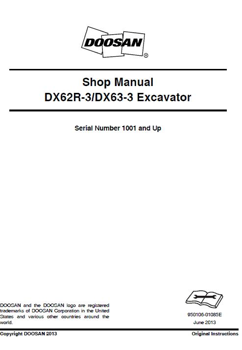 Doosan DX62R-3 and DX63-3 Excavator Service Manual