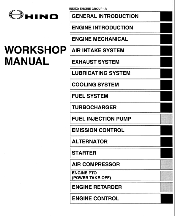 Hino Truck 2006 Engine Manual