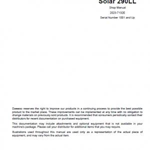 Daewoo S290LL Excavator Service Manual