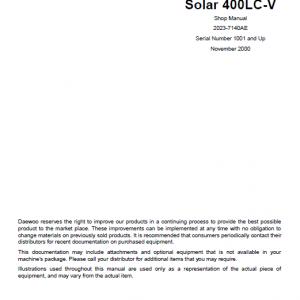 Daewoo S400LC-V Excavator Service Manual