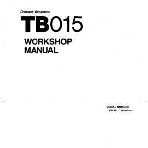 Takeuchi TB015 Excavator Service Manual