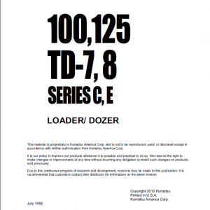 Dresser 100C, 100E ,125C and 125E Dozer Service Manual