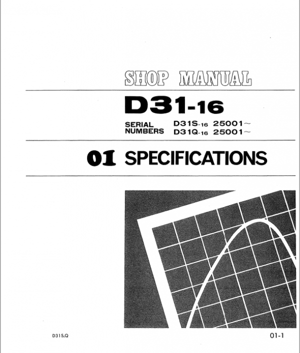 Komatsu D31-16, D31S-16, D31Q-16 Dozer Service Manual