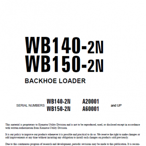 Komatsu WB140-2N and WB150-2N Backhoe Loader Service Manual