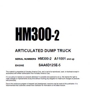 Komatsu HM300-2 Dump Truck Service Manual