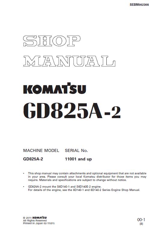 Komatsu GD825A-2 Motor Grader Service Manual